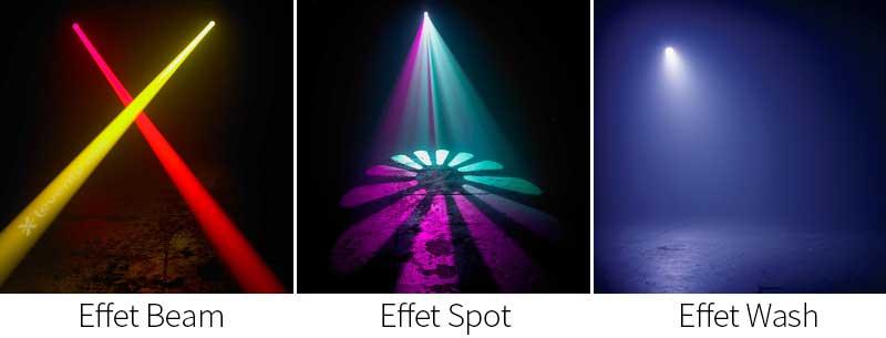 Exemple d'effets faisceaux réalisés avec des projecteurs asservis