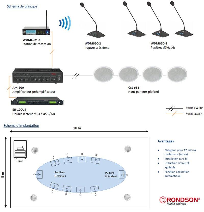 Système de conférence sans fil en valise WDM69-2 Rondson