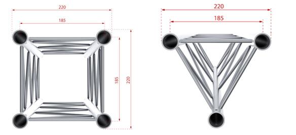 Dimensions Structure Alu de section 220mm
