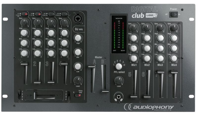 Audiophony digital club table de mixage pour dj 8 canaux - Branchement enceinte amplifiee table mixage ...