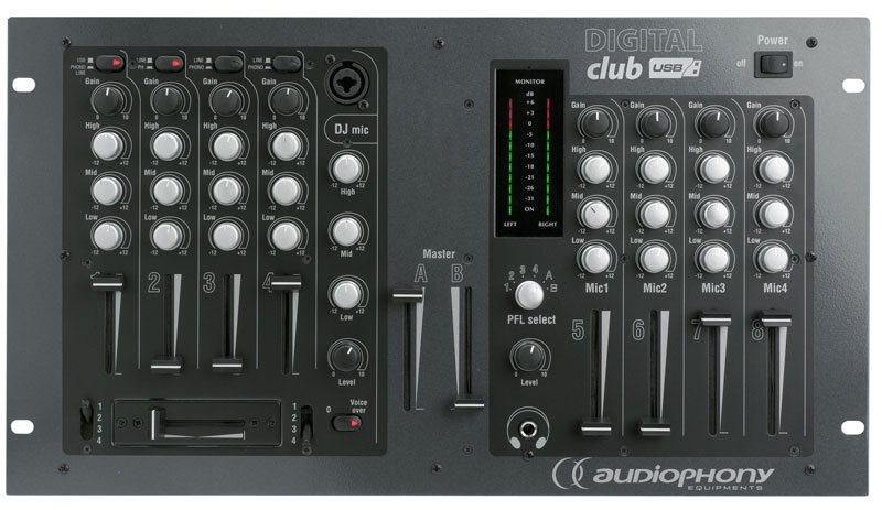 audiophony digital club table de mixage pour dj 8 canaux. Black Bedroom Furniture Sets. Home Design Ideas