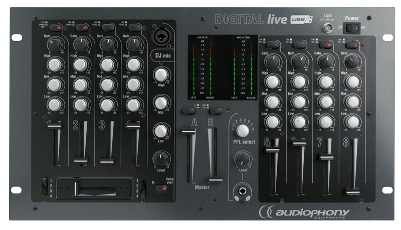 audiophony digital live console de mixage audio pour dj 16 entr es. Black Bedroom Furniture Sets. Home Design Ideas
