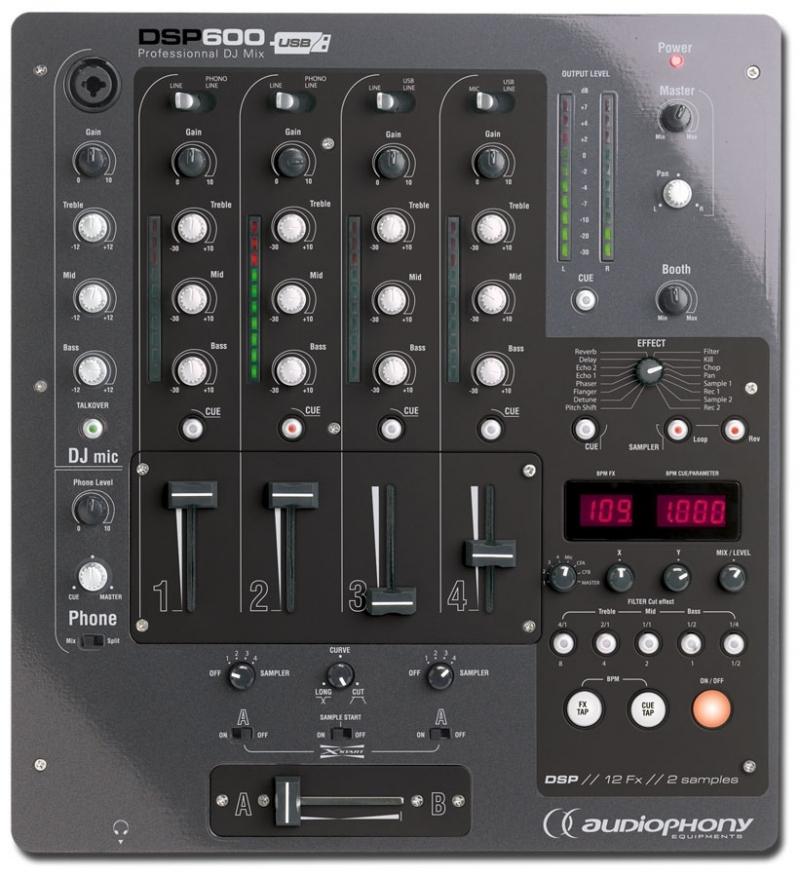 Audiophony dsp600 mkii table de mixage dj 13 entr es - Branchement enceinte amplifiee table mixage ...