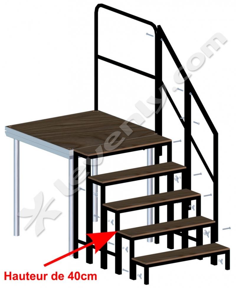 stage dex stairs 040 marche pour praticable hauteur 40cm. Black Bedroom Furniture Sets. Home Design Ideas