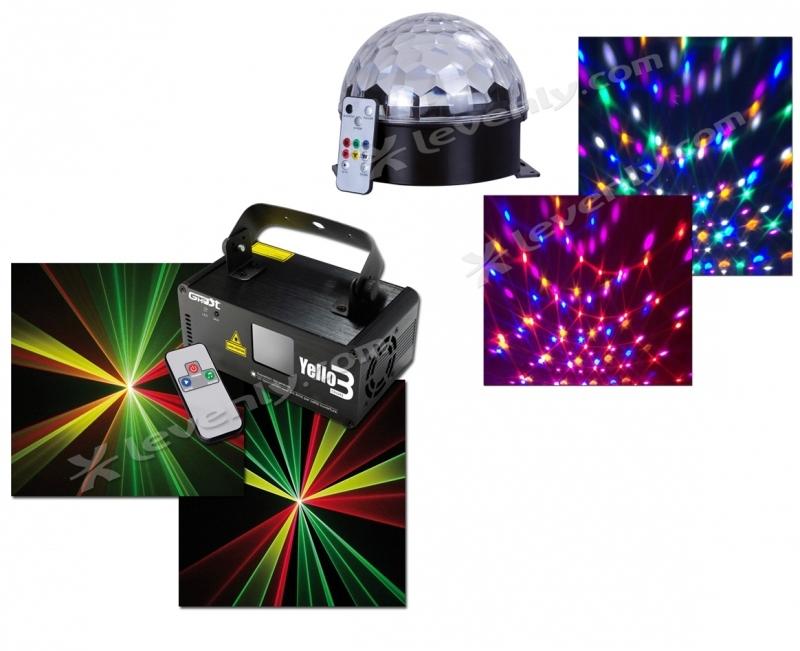 Effet lumineux sph ro magik laser yello3 for Laser lumineux pour noel